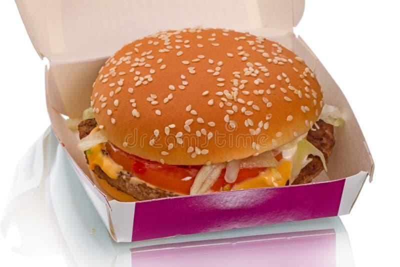 Hamburger na caixa imagens de stock