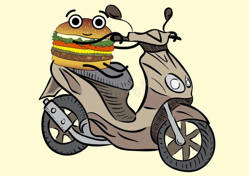 Hamburger na hulajnoga royalty ilustracja