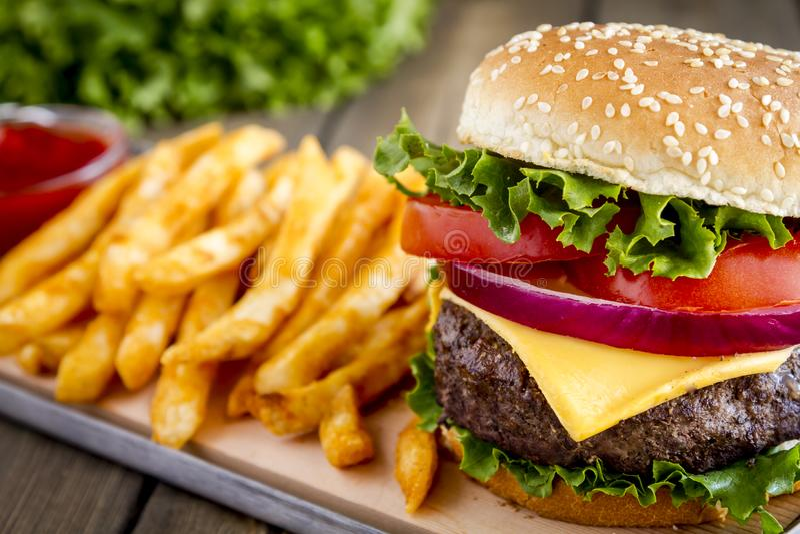Hamburger na sezamowego ziarna babeczce z dłoniakami zdjęcia royalty free