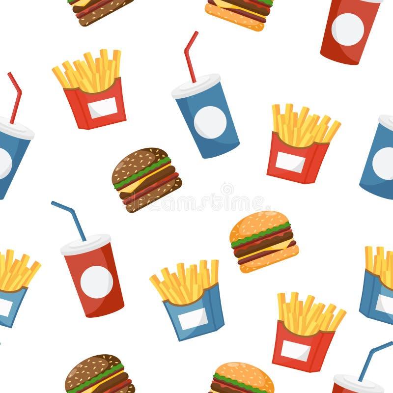 Hamburger, napój i dłoniaki, bezszwowy wzoru royalty ilustracja