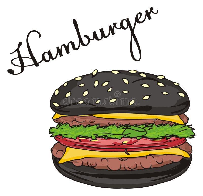 Hamburger nero con il suo nome royalty illustrazione gratis