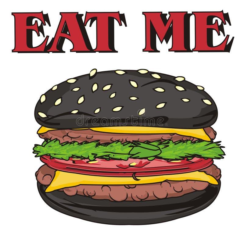 Hamburger nero e parole rosse illustrazione di stock