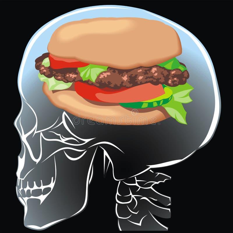 Hamburger no cérebro humano ilustração stock