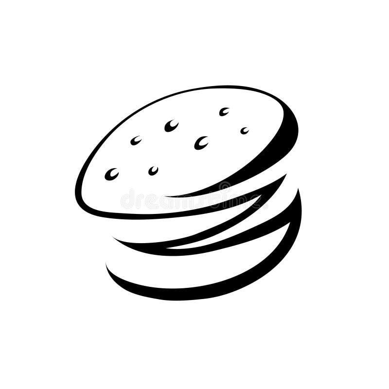Hamburger noir illustration stock