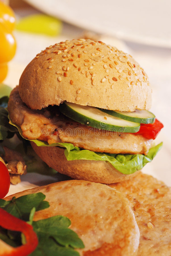 Hamburger op hamburger stock foto's