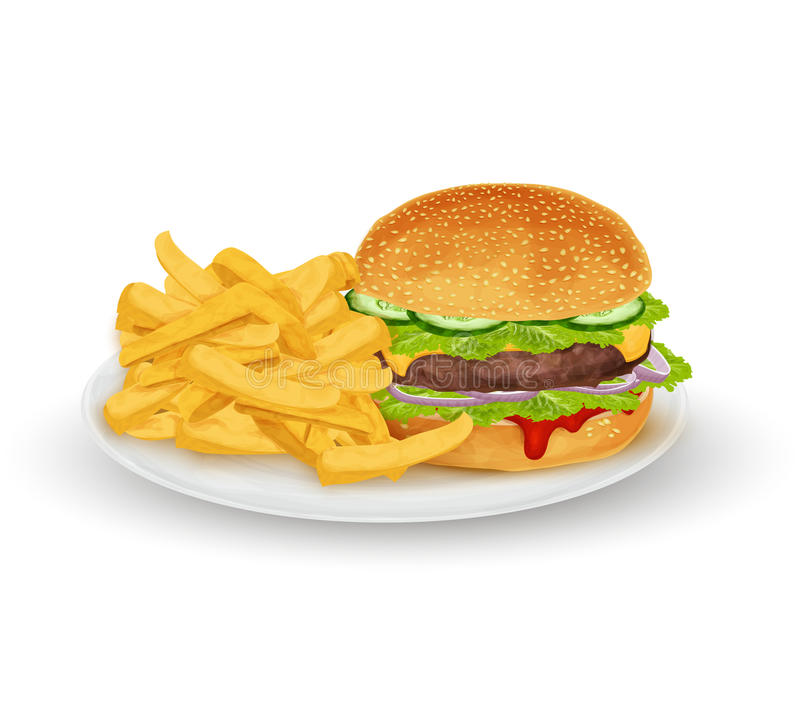 Hamburger op plaat stock illustratie