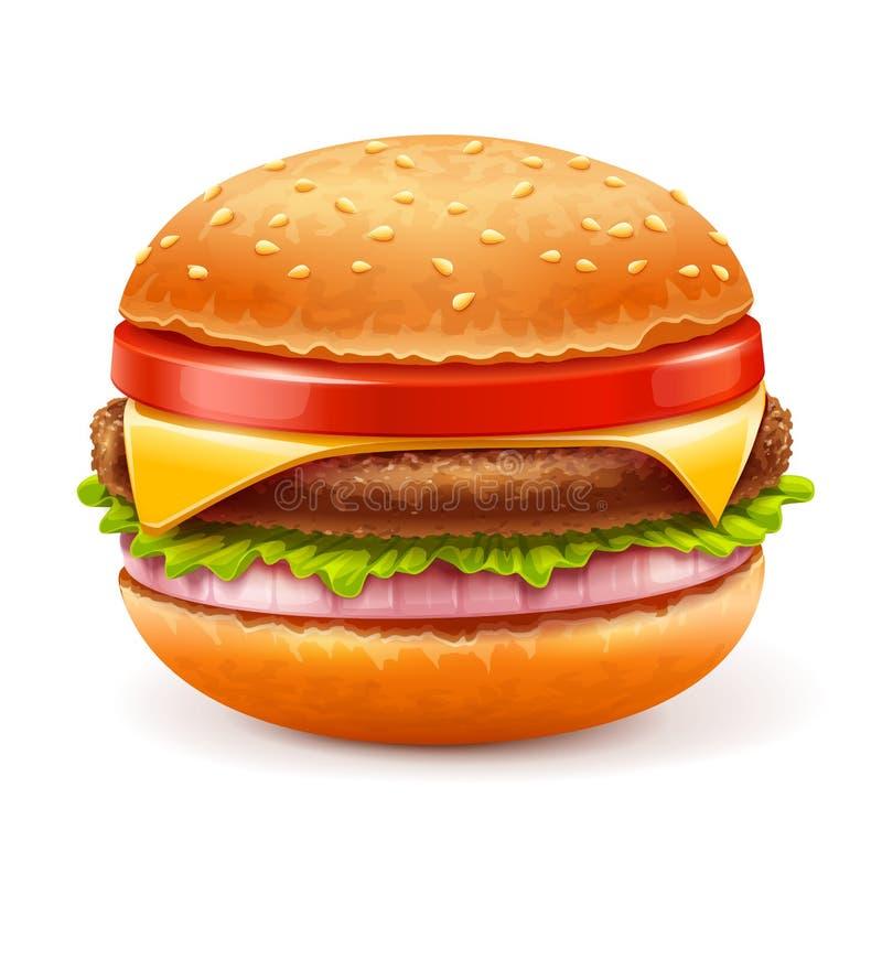 Hamburger op witte achtergrond vector illustratie