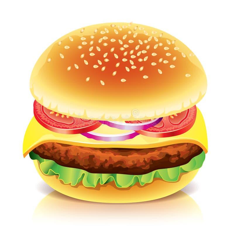 Hamburger op witte vectorillustratie vector illustratie
