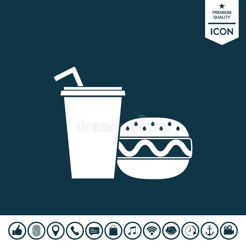 Hamburger ou cheeseburger, copo de papel com ícone da palha bebendo ilustração stock