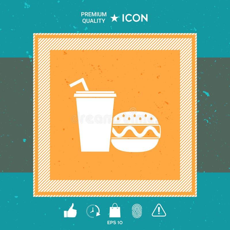 Hamburger ou cheeseburger, copo de papel com ícone da palha bebendo ilustração royalty free