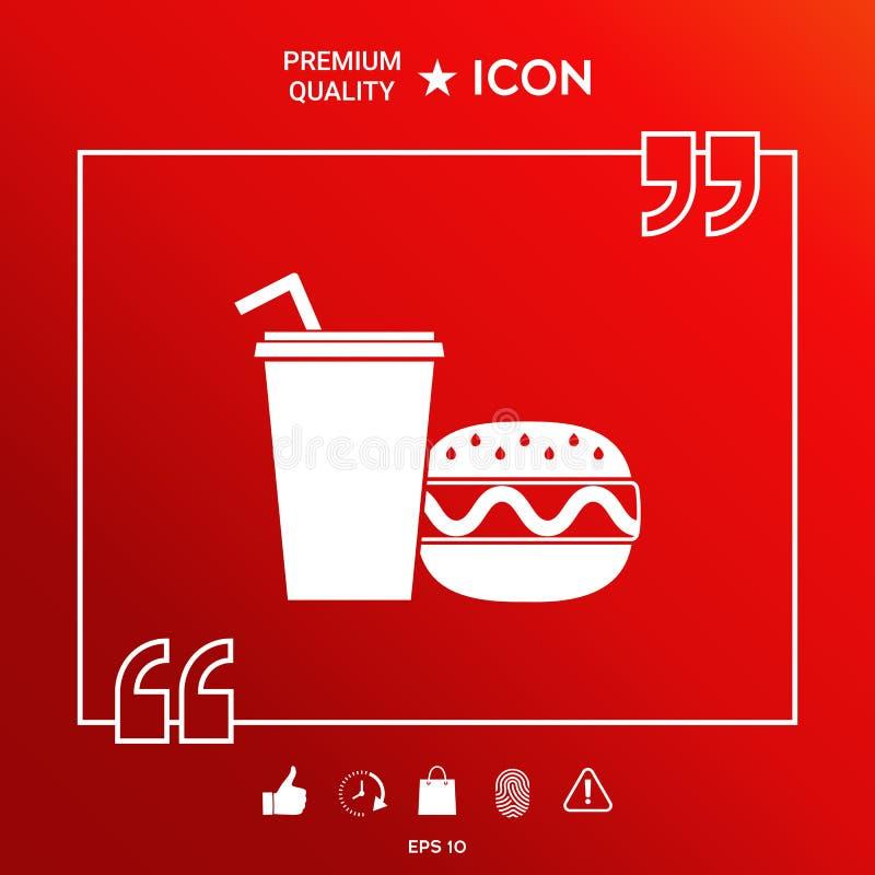 Hamburger ou cheeseburger, copo de papel com ícone da palha bebendo ilustração do vetor