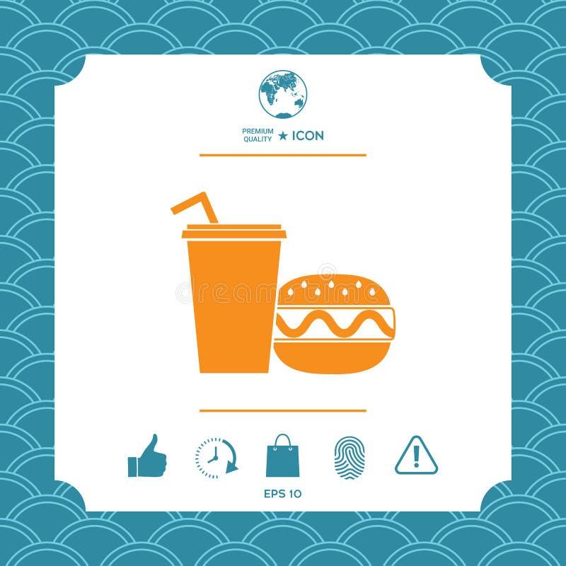 Hamburger ou cheeseburger, copo de papel com palha bebendo ilustração do vetor