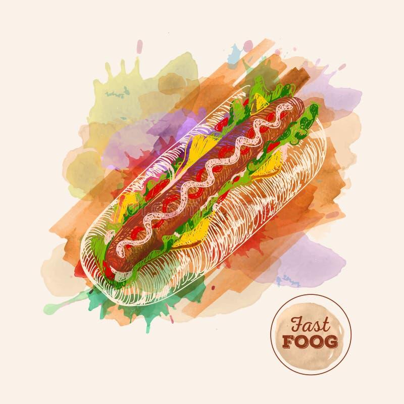 Hamburger ou sanduíche da aquarela Esboço do fast food ilustração do vetor