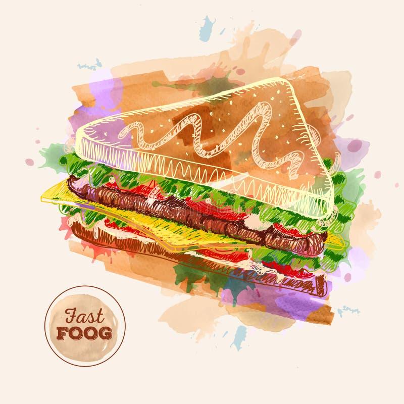 Hamburger ou sanduíche da aquarela Fast food ilustração do vetor