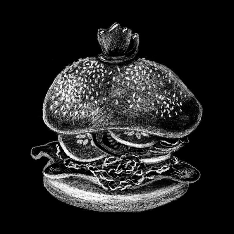 Hamburger par la craie sur le fond noir Hamburger tiré par la main sur le tableau illustration de vecteur
