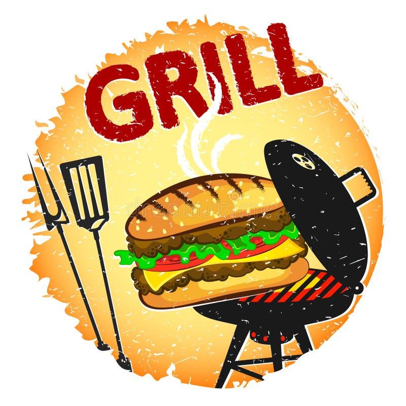 Hamburger Piec na grillu sztandar ilustracji