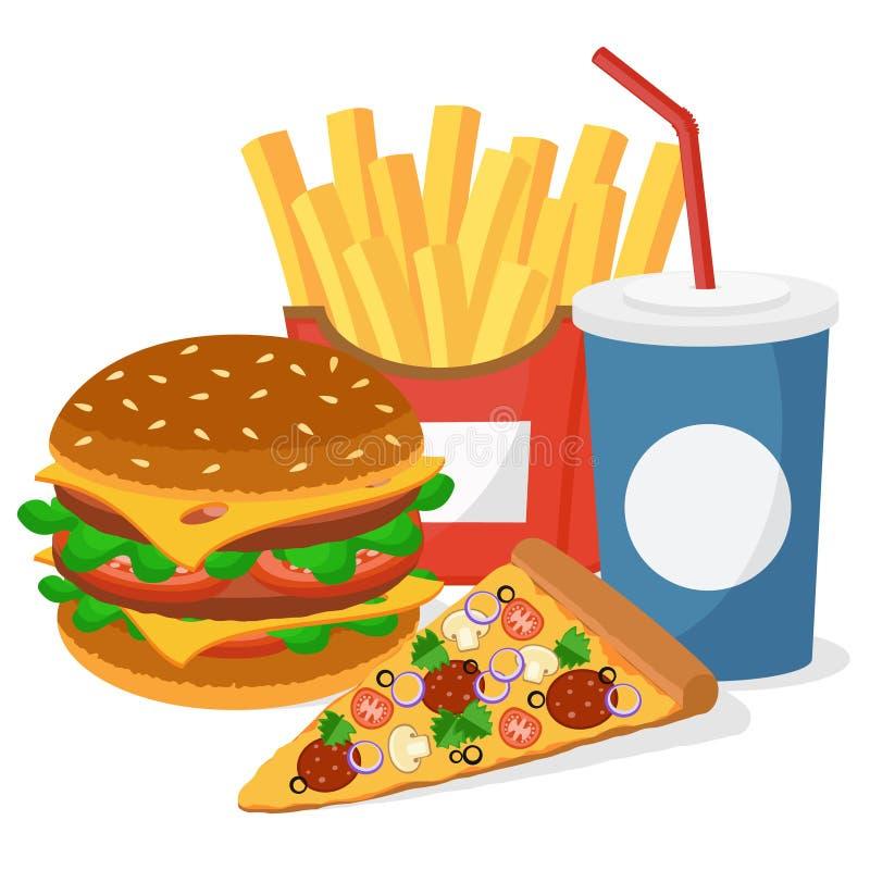 Hamburger, pizza, dłoniaki i napój na białym tle, ilustracji