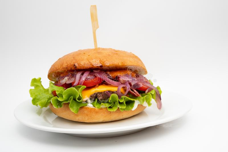 Hamburger on plate stock photos