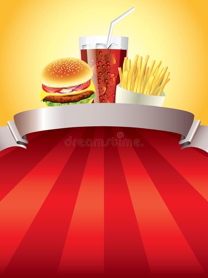 Hamburger, pommes de terre et kola sur le fond rouge illustration de vecteur