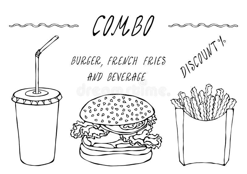 Hamburger, pommes frites dans une boîte et tasse de papier de remise combinée de kola Menu d'aliments de préparation rapide de ru illustration libre de droits