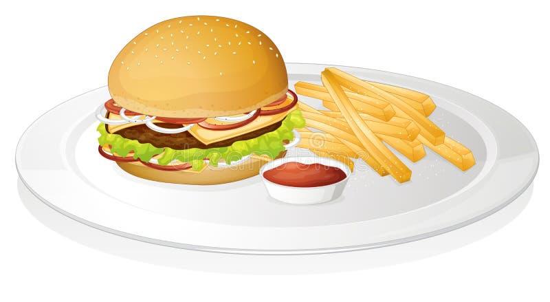 Hamburger, pommes frites et sauce illustration de vecteur