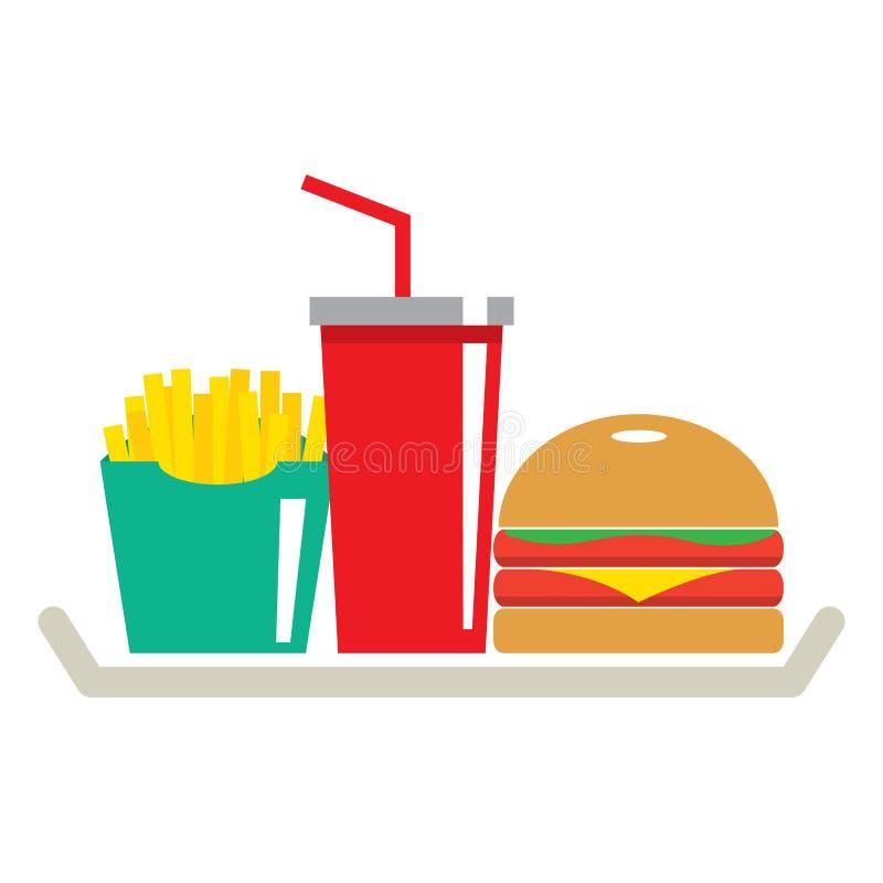 Hamburger, pommes frites et un verre de kola dans le plateau illustration libre de droits