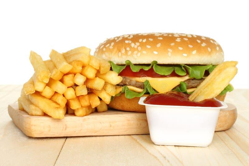 Hamburger, potato free with tomato sauce royalty free stock image