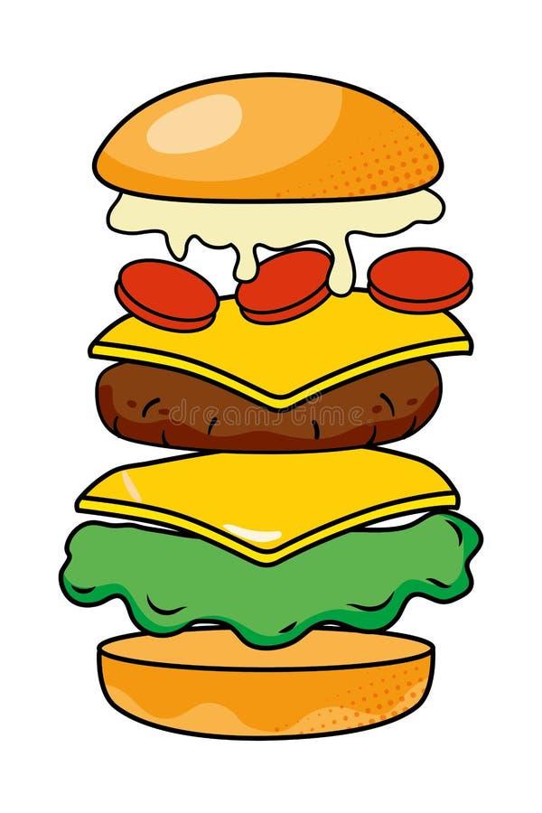 Hamburger que mostra toda a ilustra??o do vetor dos ingredientes ilustração stock