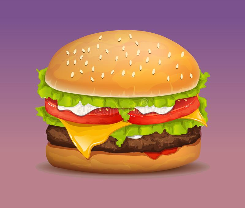 Hamburger réaliste de vecteur illustration stock