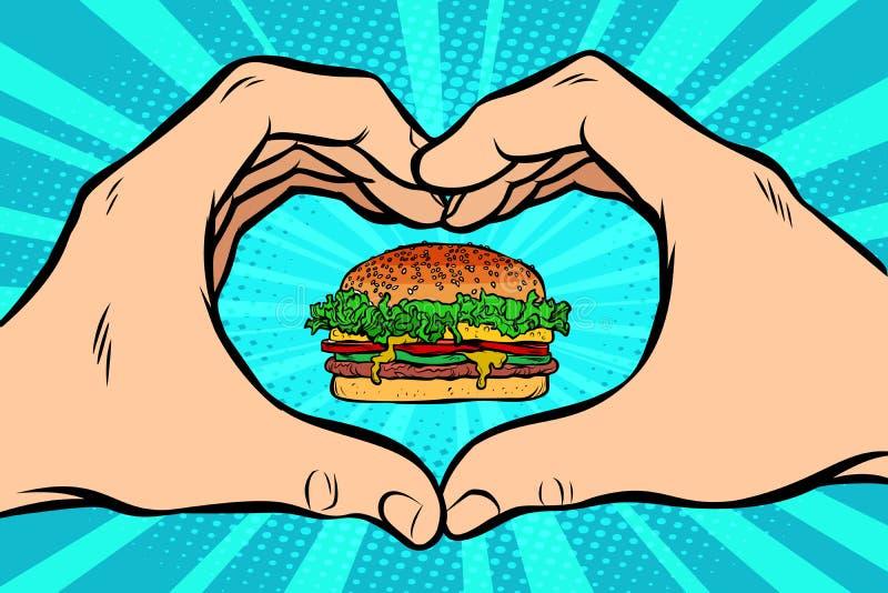 Hamburger, ręka gesta serce royalty ilustracja