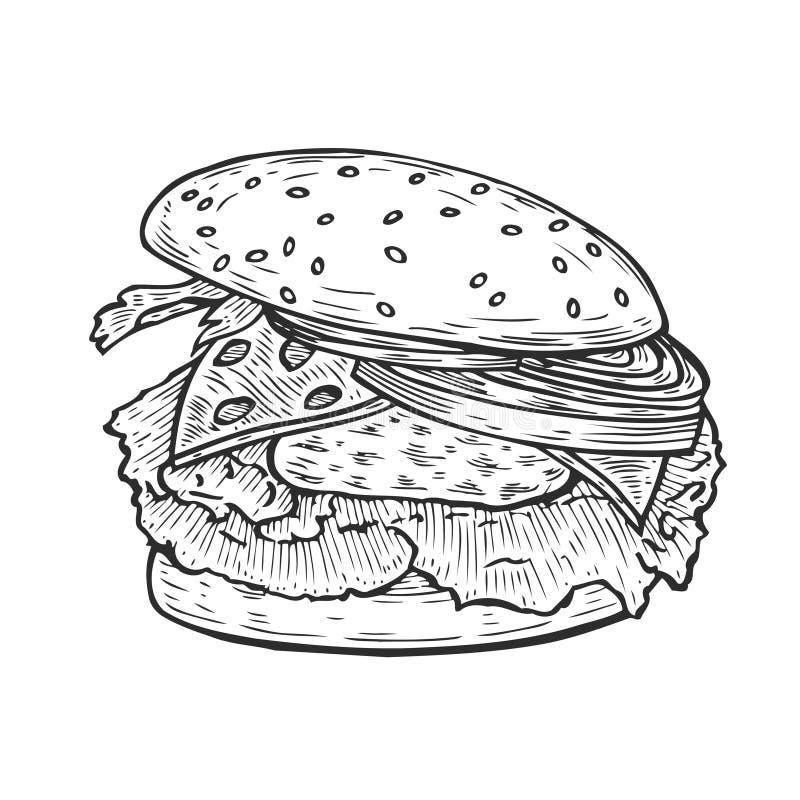 Hamburger ręka rysująca ilustracji