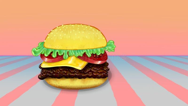Hamburger retro ilustração stock