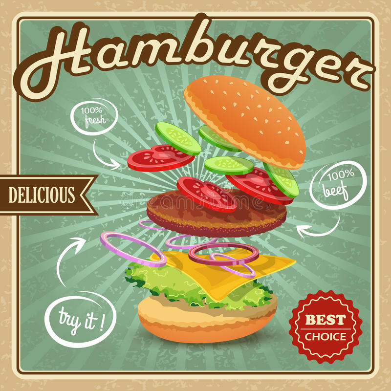 Hamburger retro poster. Delicious best choice retro hamburger food fresh ingredients poster vector illustration stock illustration