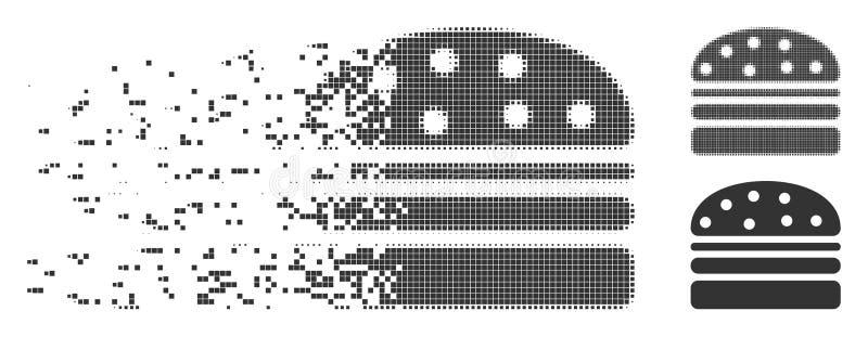 Hamburger Rozpuszczająca piksla Halftone ikona royalty ilustracja