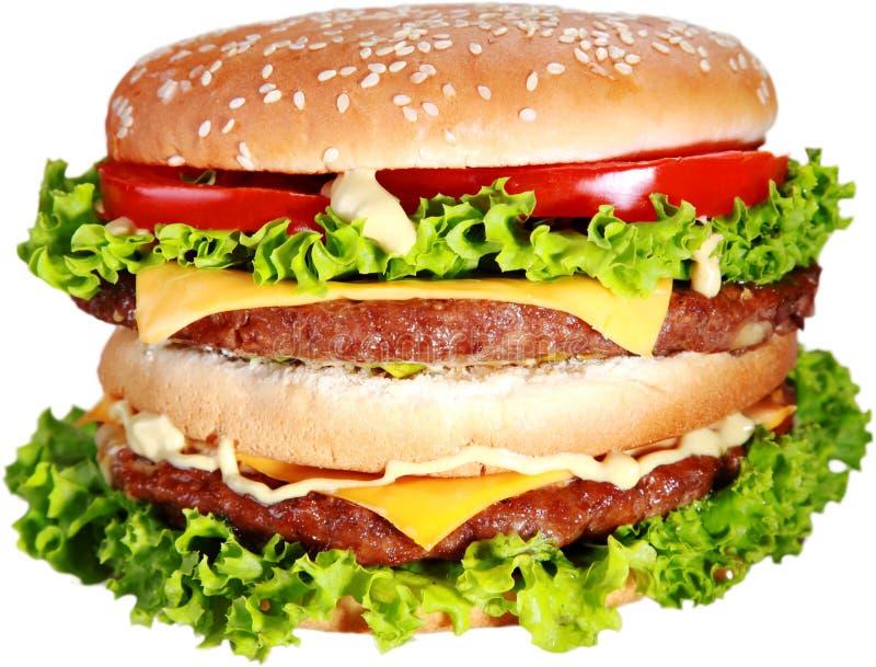 Hamburger saboroso no fundo branco, menu para o café fotografia de stock royalty free