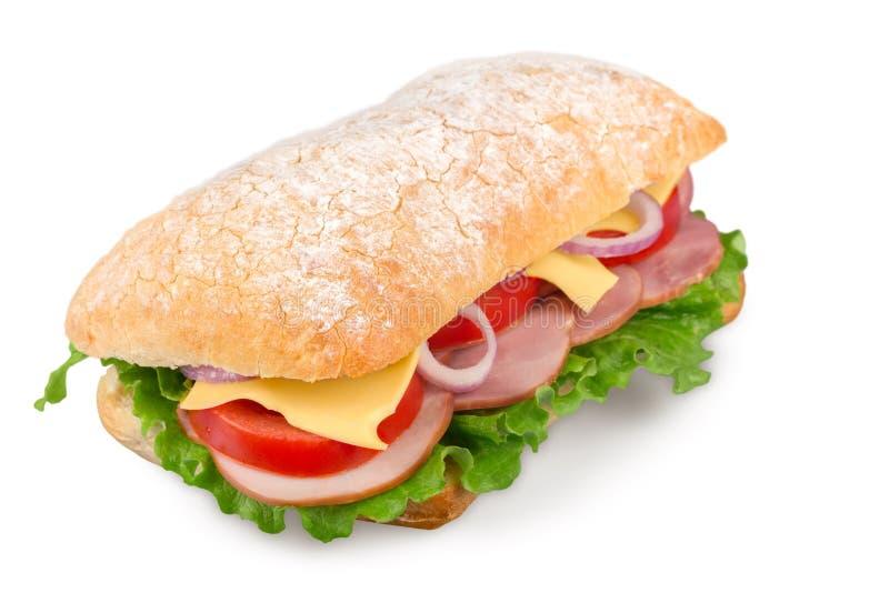 Hamburger saboroso no fundo branco, menu para o café foto de stock royalty free
