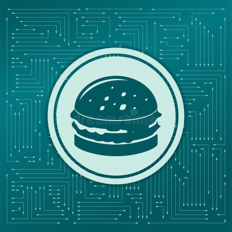 Hamburger, sandwich, hamburgerpictogram op een groene achtergrond, met pijlen in verschillende richtingen Het lijkt de elektronis royalty-vrije illustratie