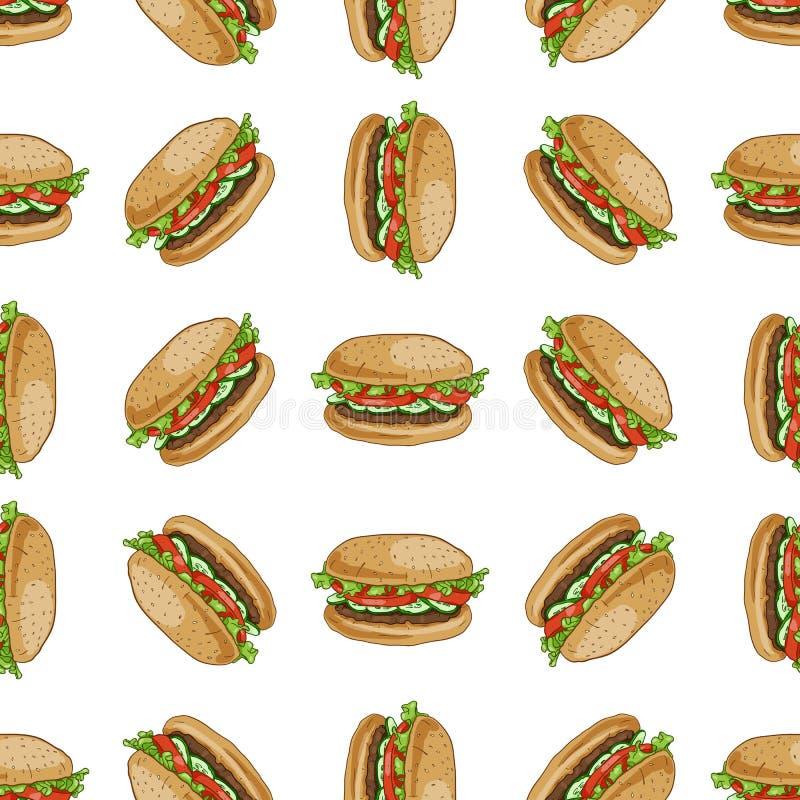 Hamburger sans couture de couleur de modèle illustration de vecteur