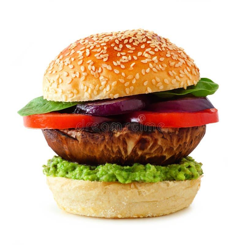 Hamburger sans viande de champignon de Portobello d'isolement sur un fond blanc image libre de droits