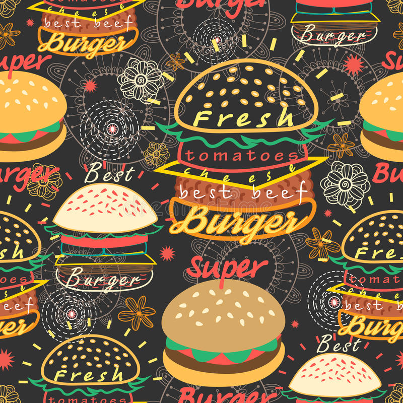Hamburger saporiti luminosi del modello royalty illustrazione gratis
