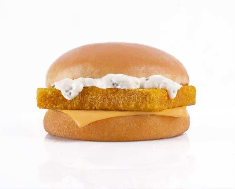 Hamburger saporito con il filetto di pesce su un fondo bianco immagine stock libera da diritti