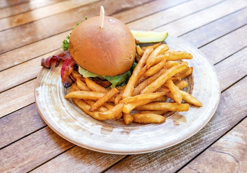 Hamburger savoureux avec des fritures photographie stock libre de droits