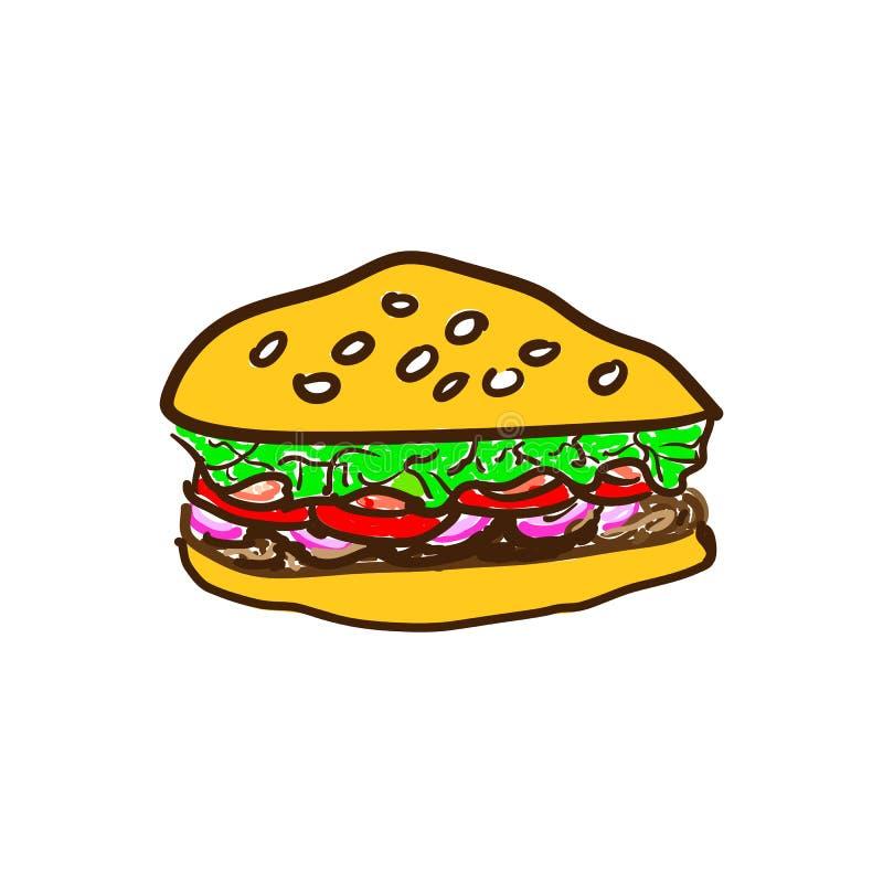 Hamburger savoureux de bande dessinée grand avec du fromage et les graines de sésame d'isolement sur le fond blanc r illustration libre de droits