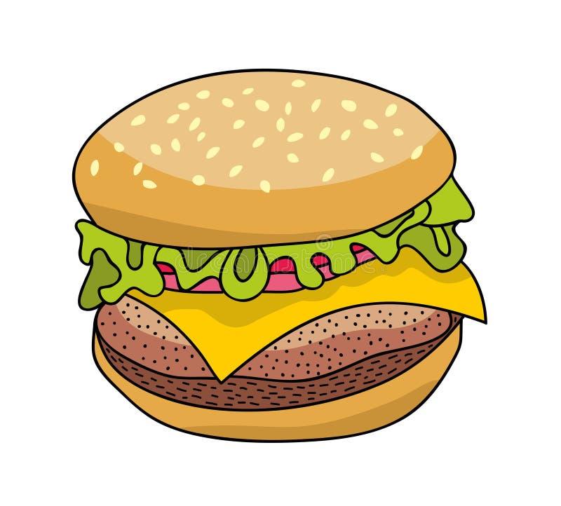 Hamburger savoureux de prêt-à-manger illustration stock