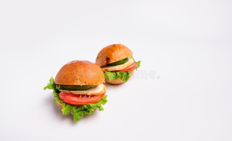 Hamburger savoureux frais d'isolement sur le fond blanc photos stock