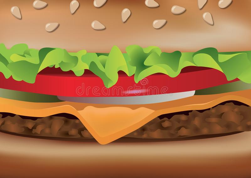 Presentation of a hamburger with a roasted view. Hamburger seen in close-up, presenting main ingredients composing a fast-food diet stock illustration
