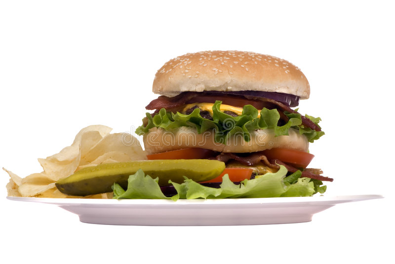 Hamburger Series (Bacon cheeseburger on plate) royalty free stock images
