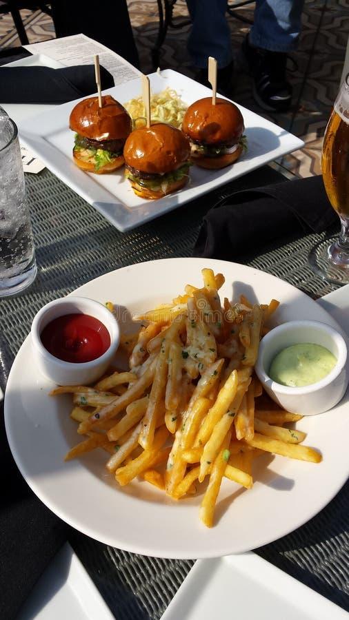 Download Hamburger Sliders And Fries Stock Photo - Image of hamburger, sliders: 54771544