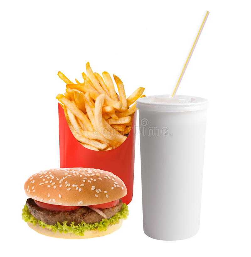 Hamburger, soda e patate fritte fotografia stock