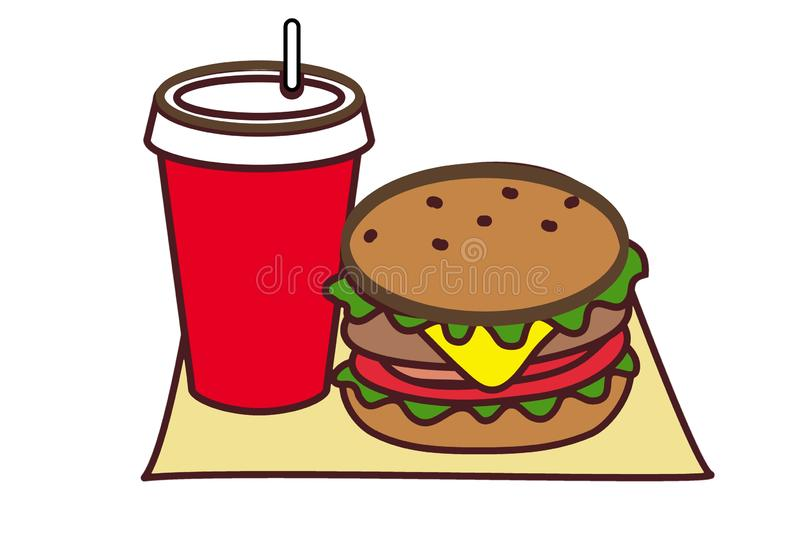 Hamburger and soda illustration in flat style on white background.fadt food concept. Hamburger soda illustration flat style white background backgroundfadt food stock images
